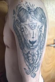 山羊头纹身撒旦 男生手臂上山羊头纹身撒旦黑灰纹身图片