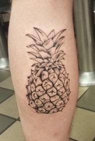 简单线条纹身 男生小腿上简单线条纹身菠萝纹身图案