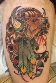 女性人物纹身图案 男生大腿上女性人物纹身图案