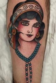 女生人物纹身图案 多款简单线条纹身素描人物纹身图案