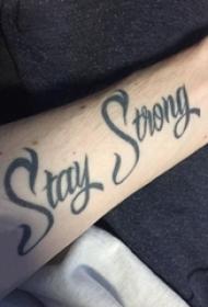 花体英文纹身 男生手臂上花体英文纹身素描图片