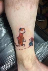 卡通可爱纹身图案 男生小腿上卡通纹身图案
