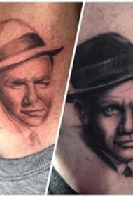 人物肖像纹身 男生脖子上人物肖像纹身图片