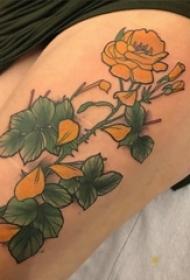 小清新植物纹身 女生大腿上彩色的花朵纹身图片