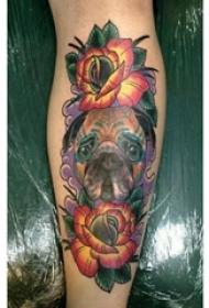狗头纹身 女生小腿上狗头纹身花朵图片