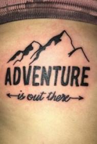 小山峰纹身 男生大腿上小山峰纹身和花体英文纹身图片