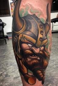 武士纹身 男生小腿上彩色的武士纹身图片
