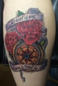 纹身指南针 女生小腿上花朵纹身指南针图片
