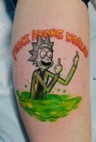 纹身卡通 男生小腿上动漫人物纹身图片