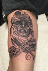 人物肖像纹身 男生手臂上人物纹身图案