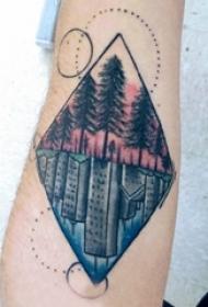 树纹身 男生手臂上树纹身几何纹身图片