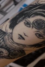 女性人物纹身图案 男生手臂上人物肖像纹身图片