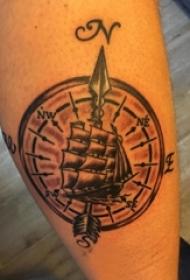 纹身小帆船 男生手臂上帆船纹身图案