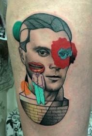 人物肖像纹身 女生大腿上人物纹身图片