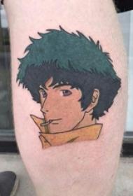 纹身卡通 女生小腿上动漫人物的纹身图片
