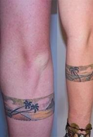 臂环纹身女 女内行臂上黑色的风景臂环纹身图片