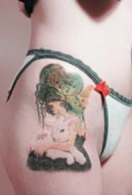 精美少女头像纹身