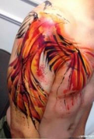 纹身凤凰 多款彩绘纹身素描凤凰图腾纹身图案