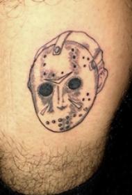纹身面具 男生大腿上黑色的面具纹身图片