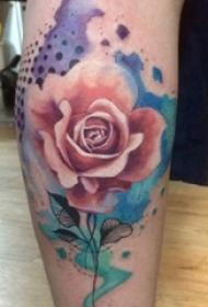 小腿对称纹身 女生小腿上彩色的玫瑰纹身图片