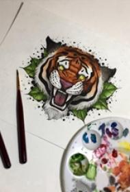 百乐动物纹身 彩色的叶子和老虎纹身手稿