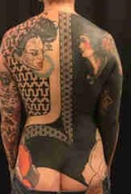 满背纹身图案 多款简单线条纹身素描满背纹身图案