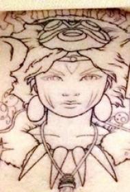 女生人物纹身图案 女生胸下女生人物纹身图案