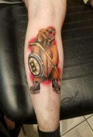 熊纹身 男生小腿上熊图腾纹身图片