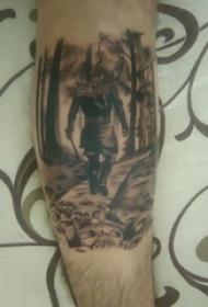 纹身黑色 男生小腿上黑色的人物肖像纹身图片
