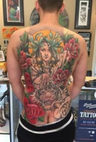 女生人物纹身图案 男生背部女性人物纹身图案