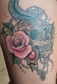 纹身骷髅头 女生大腿上骷髅头纹身图片