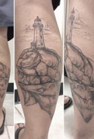 小腿对称纹身 男生小腿上黑色的灯塔纹身图片