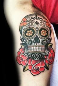 纹身骷髅头 多款彩绘纹身素描骷髅头纹身图案