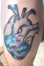 小腿对称纹身 男生小腿上星空和心脏纹身图片