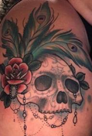 纹身骷髅头 女生大腿上骷髅纹身图片