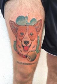 大腿纹身男 男生大腿上英文和小狗纹身图片