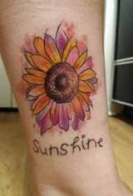 小腿对称纹身 女生小腿上英文和向日葵纹身图片