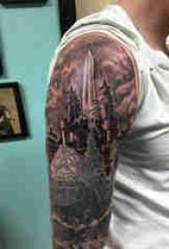 建筑物纹身 男生手臂上建筑物纹身图案