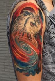 大臂纹身图 男生大臂上彩色的猫头鹰纹身图片