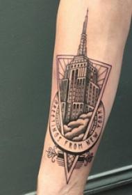 建筑物纹身 男生手臂上三角形和建筑物纹身图片