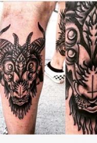 山羊头纹身撒旦 男生小腿上羊头纹身图片