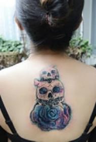 恐怖元素背部纹身