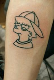 极简线条纹身 男生手臂上黑色的卡通纹身图片
