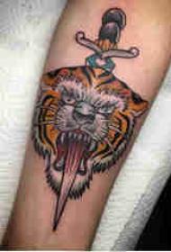 老虎头纹身图案 男生手臂上老虎图腾纹身图片