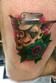 纹身猪 男生大腿上猪纹身图片