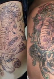 纹身覆盖 女生侧腰上章鱼和大象纹身图片