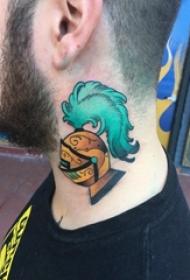 武士头盔纹身 男生颈部彩色的头盔纹身图片