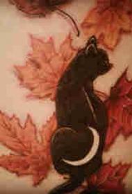 側腰紋身男 男生側腰上楓葉和貓咪紋身圖片