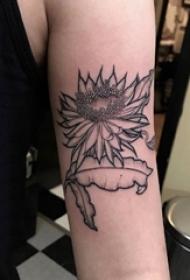 手臂纹身素材 女生手臂上黑色的向日葵纹身图片