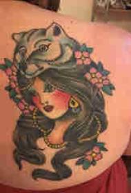 女性人物纹身图案 女生背部人物肖像纹身图片